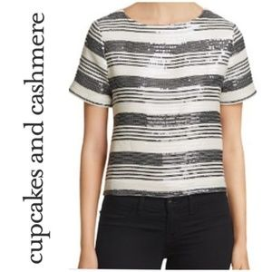 Cupcakes and Cashmere Wexner Striped Sequined Top